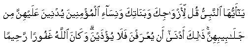 Hai nabi katakanlah kepada istri istrimu anak anak perempuan mu